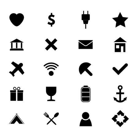Set of twenty black and white simple icons. Vector illustration