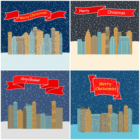 Set of four vector illustration with night city with red ribbons with the inscription Marry Christmas. Illustration