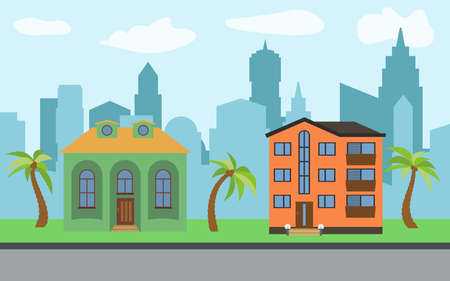 Vector city with two-story and three-story cartoon houses and palm trees in the sunny day. Summer urban landscape. Street view with cityscape on a background