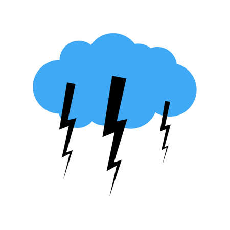 A cloud with a thunderstorm. Vector illustration.