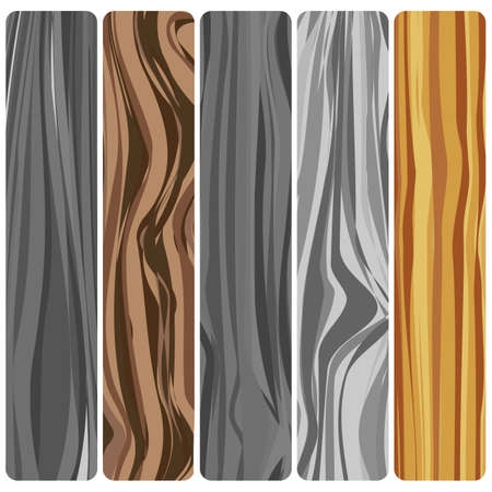 Five wooden boards. Vector abstract wood texture in flat design.