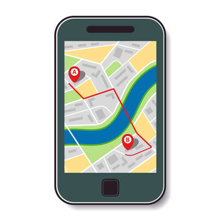 Mobile phone with a map of the city and the route from point A to point B. Vector illustration