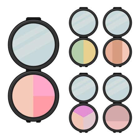 Conjunto de artículos de maquillaje. Cinco sombras de ojos brillantes con espejo. Ilustración de vector.