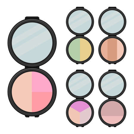 Set of makeup items. Five bright eye shadows with mirror. Vector illustration.