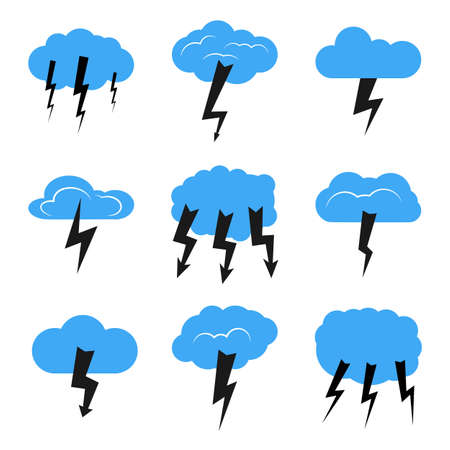 Set of nine clouds with a thunderstorm. Vector illustration.