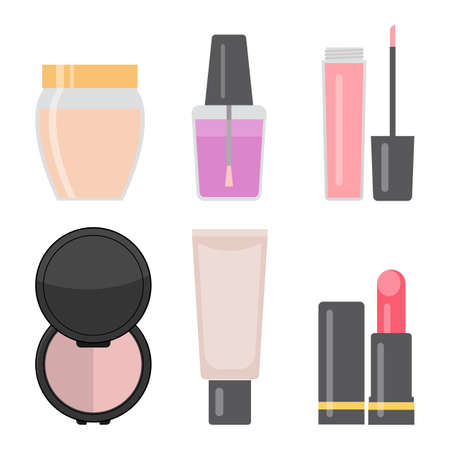 Set of makeup items. Nail varnish, cream for the skin, lipstick, lip gloss, eye shadows, cosmetic tube. Vector illustration.
