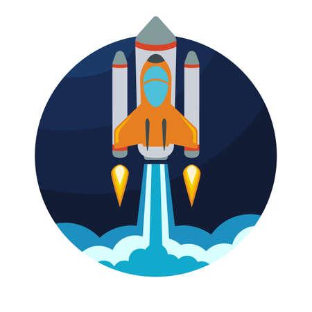 Space rocket ship launch. Vector illustration. Ilustração