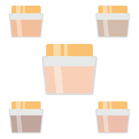 Set of makeup items. Five creams for the skin. Vector illustration.