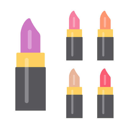 Set of makeup items. Five bright lipsticks. Vector illustration.