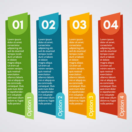 Four elements of infographic design. Step by step infographic design template. Vector illustration