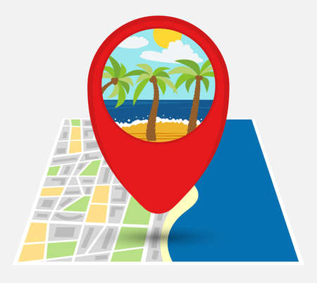 Map of an imaginary city with point on the map with sandy beach. Vector illustration.