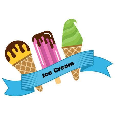 Three different ice cream wrapped in blue ribbon with the inscription ice cream. Vector illustration
