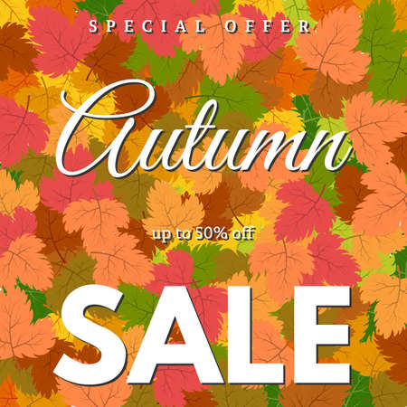 Background with autumn leaves and an inscription Autumn sale. Vector illustration 矢量图像