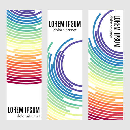 Set of abstract vertical header banners with curved lines and place for text. Colorful backgrounds for web design. Vector illustration Banque d'images - 115490802