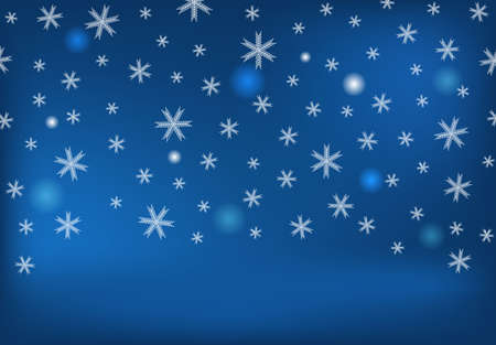 Winter background with falling snow and snowflakes. Merry Christmas and Happy New Year background. Vector illustration.