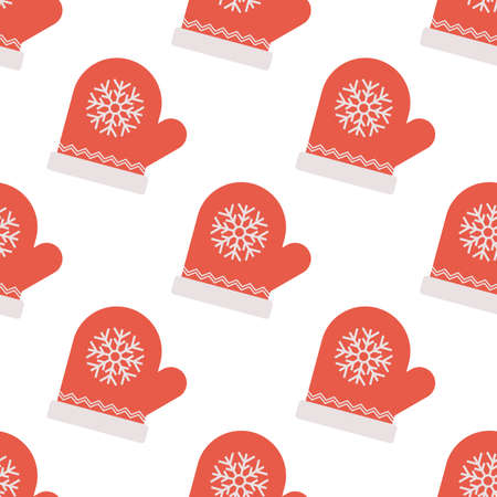 Seamless Pattern with Red Mitten with Snowflake Sign. Vector illustration