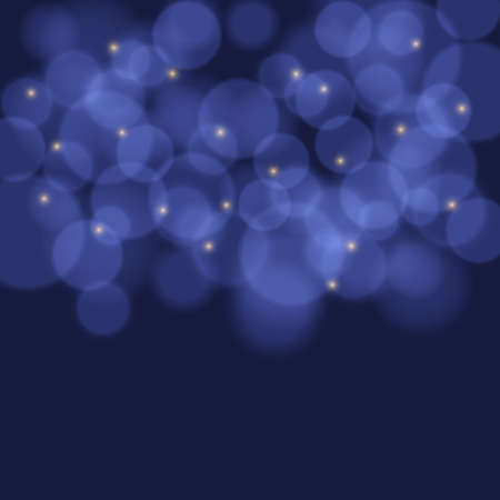 Colorful background with bokeh lights, stars and lens flare. Vector illustration. Illustration