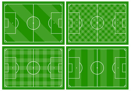 Set of four football fields with different green grass ornaments. Soccer field for playing. Vector illustration Illustration