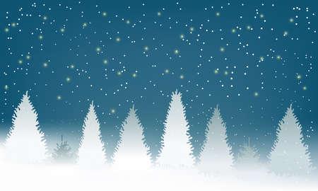 Inverno Snowy Woodland Paesaggio con neve che cade. Sfondo invernale. Illustrazione vettoriale Vettoriali