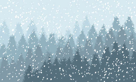 Winter Snowy Woodland Landscape with falling snow. Winter background. Vector illustration