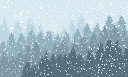 Zima Snowy Woodland Krajobraz z padającego śniegu. Zimowe tło. Ilustracja wektorowa