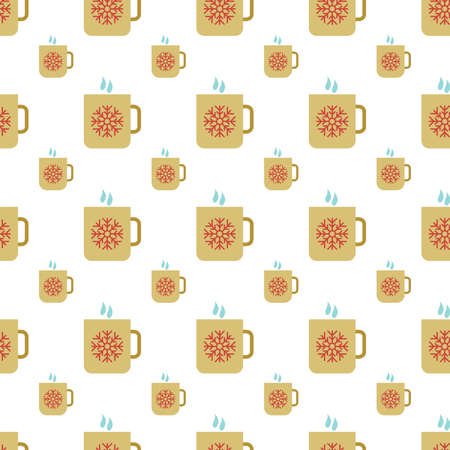 Seamless Pattern with Cup with hot drink and snowflake symbol. Vector illustration
