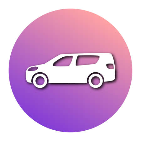 White car in circle with modern gradient and shadow. Vector illustration Иллюстрация