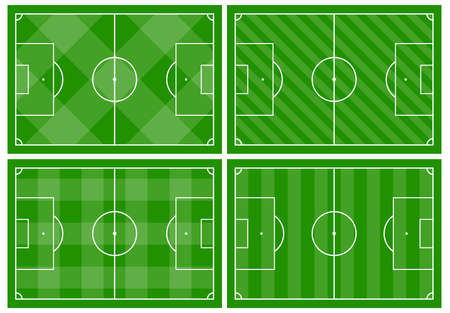 Set of four football fields with different green grass ornaments. Soccer field for playing. Vector illustration Standard-Bild - 125616953