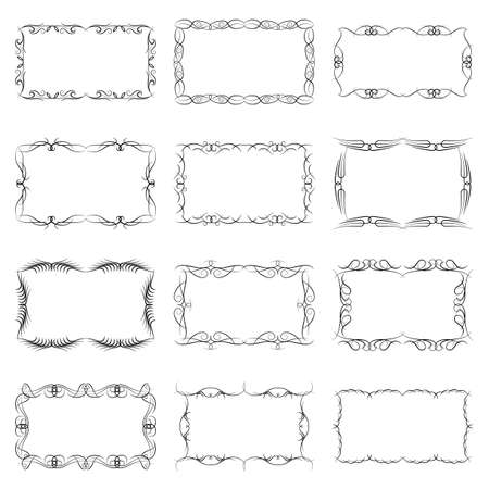 Set of twelve decorative vintage horizontal frames with the place for your text in center. Vintage ornament greeting card template. Vector illustration. 向量圖像