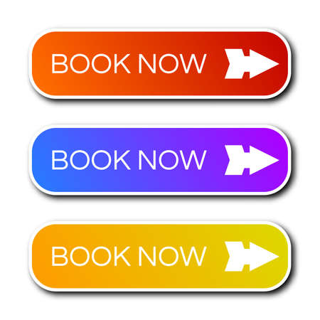 Set of three modern gradient buttons with shadows. Book now Buttons. Vector illustration