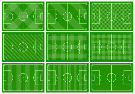 Set of nine football fields with different green grass ornaments. Soccer field for playing. Vector illustration