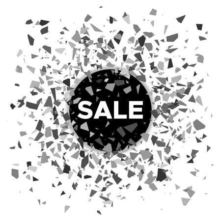 Sale banner. Black ball with the inscription sale and scattering fragments around. Vector illustration
