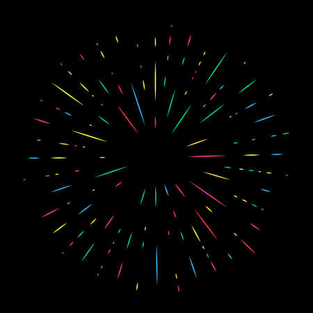 Colorful Holiday Firework on night background. Festive, anniversary and celebration Bright Salute. Vector illustration Çizim