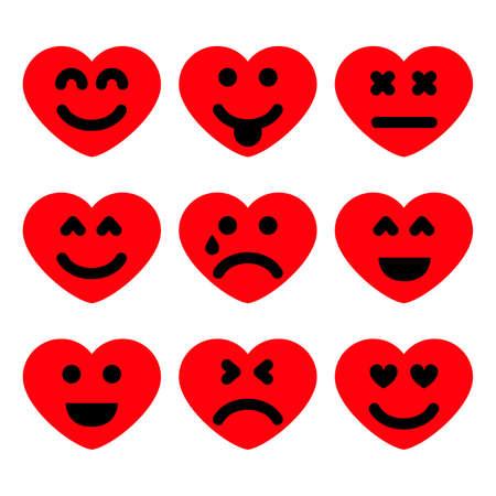Set of nine cartoon hearts with emotions. Emoji icon in Love symbols. Vector illustration