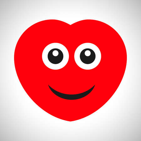 Smile cartoon heart with emotions of joy. Symbol of Love. Vector illustration
