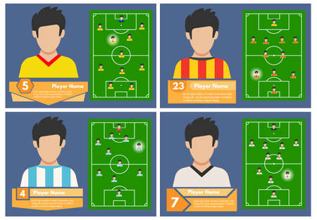 Set of four football players with a position on the field where they play. Soccer field for playing. Vector illustration