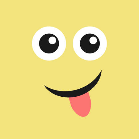 Smile face with tongue sticking out on color background. Vector illustration