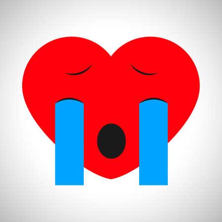 Crying cartoon heart. Symbol of Love. Vector illustration Illustration