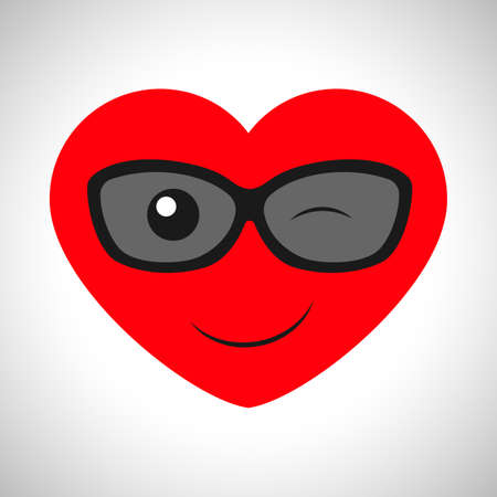 Winking cartoon heart with glasses. Symbol of Love. Vector illustration