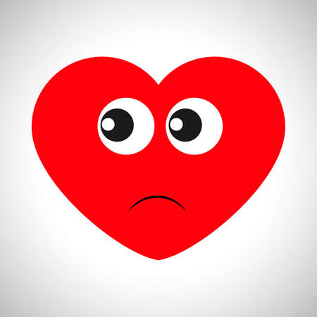 Dissatisfied cartoon heart with a look to the side. Symbol of Love. Vector illustration