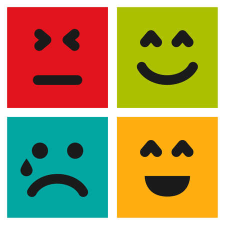 Set of four colorful emoticons with smiley, crying and dissatisfied faces. Emoji icon in square. Flat background pattern. Vector illustration