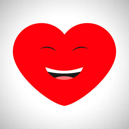Laughing cartoon heart with emotions of joy. Symbol of Love. Vector illustration