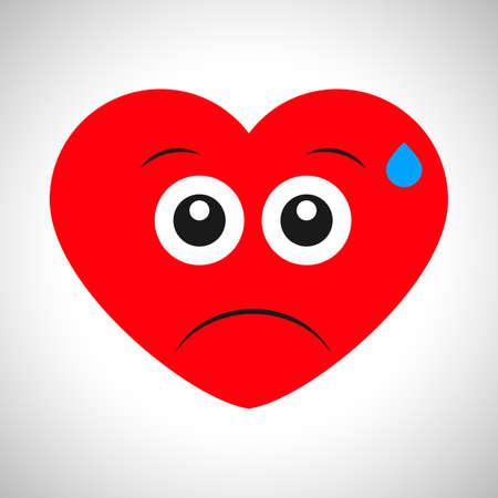 Dissatisfied sweaty cartoon heart. Symbol of Love. Vector illustration