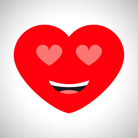 Smiling love cartoon heart with heart shaped eyes. Symbol of Love. Vector illustration
