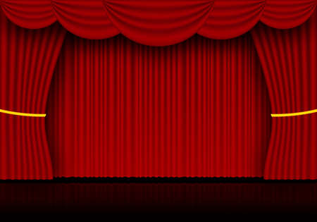 Red curtain opera, cinema or theater stage drapes. Spotlight on closed velvet curtains background. Vector illustration