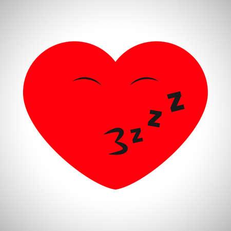 Winking cartoon heart. Symbol of Love. Vector illustration