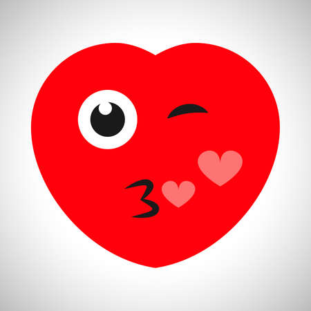 Winking cartoon heart with a kiss and hearts. Symbol of Love. Vector illustration