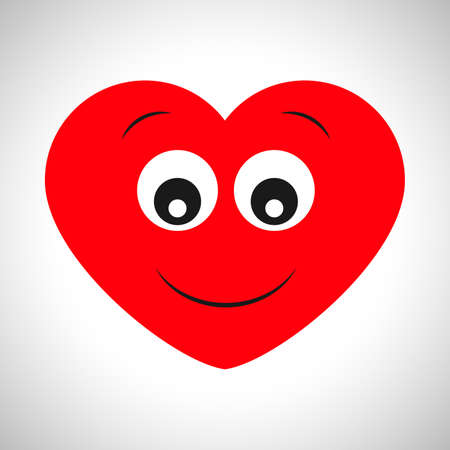 Surprised joyful cartoon heart. Symbol of Love. Vector illustration Illustration