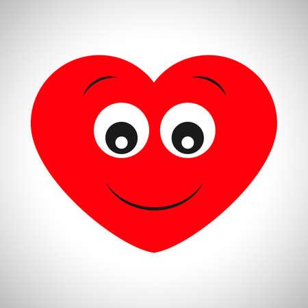 Surprised joyful cartoon heart. Symbol of Love. Vector illustration Stock Vector - 117924060
