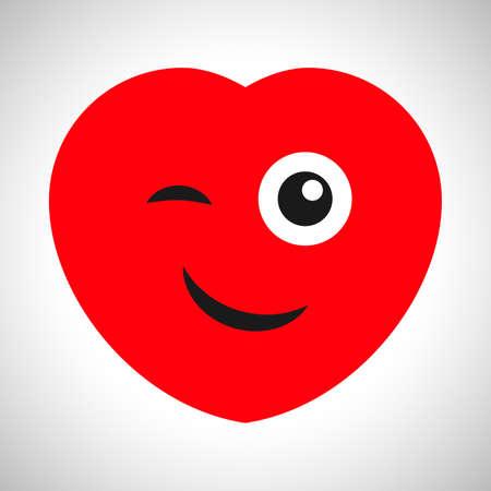 Smiling cartoon heart with a wink. Symbol of Love. Vector illustration Illustration